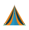 triangle tent tourism travel blue and yellow vector image