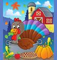 turkey bird in pan theme image 2 vector image vector image