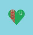 turkmenistan flag icon in a heart shape in flat vector image