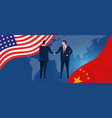 usa and china reach out their hands maing deals vector image vector image