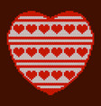 valentines day knitted texture in the shape of a vector image vector image