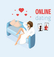 woman in love sitting on sofa vector image