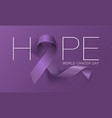 world cancer day concept hope lavender ribbon vector image vector image
