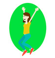 happy girl jumping up with excitement vector image