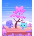 Cat watering a tree on which grow heart vector image