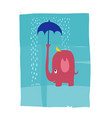 a pink elephant protecting a bird from the rain vector image vector image