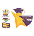 academic hat happy graduation greeting isolated vector image vector image