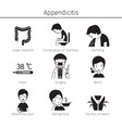 appendicitis symptoms icons set monochrome vector image vector image