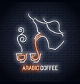 arabic coffee neon cup sign background restaurant vector image vector image