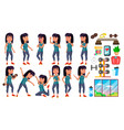 asian girl poses set high school child vector image