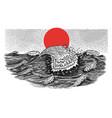atlantic tidal waves vintage storm japanese vector image vector image