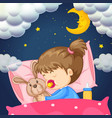 baby girl in bed at night vector image vector image