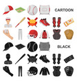 baseball and attributes cartoon icons in set vector image vector image