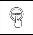 benefits line icon hand press button