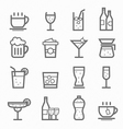 beverage symbol line icon set vector image