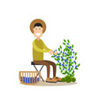 blueberry hunter people concept flat vector image vector image