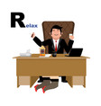 boss relaxation with whiskey and secretary letter vector image vector image