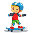boy excersicing with his skateboard vector image vector image