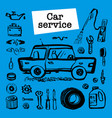 car service concept set with car parts and tools vector image vector image