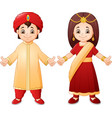 cartoon indian couple wearing traditional costume vector image vector image