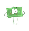cartoon money character standing with arms akimbo vector image vector image