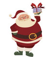 cartoon santa claus with gift christmas vector image vector image