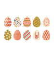 collection of decorated easter eggs isolated on vector image