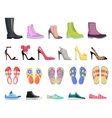 Collection of Shoes Types Modern Female Footwear vector image vector image