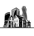 cottages and skyscrapers vector image vector image