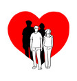 couple holding hand on big red heart shape vector image vector image
