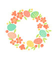 easter wreath flowers and painted eggs festive vector image vector image