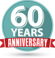 Flat design 60 years anniversary label with red vector image vector image