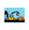 Forklift hoist crane load timber logging truck vector image vector image