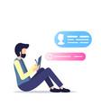 freelancer sit write draw clipboard social media vector image