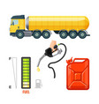 fuel truck icons gasoline equipment and supplies vector image