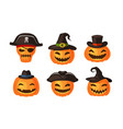 funny pumpkins in hats halloween symbol cartoon vector image vector image