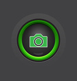 glossy dark circle photo camera button vector image vector image