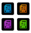 glowing neon jpg file document icon download vector image vector image
