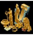 golden greek symbols statues people vector image