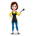 hairdresser woman in professional uniform vector image vector image