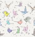 hand drawn artistic single line birds seamless vector image vector image