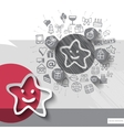 Hand drawn star icons with icons background vector image vector image