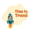 happy little boy flying in rocket spaceship vector image vector image