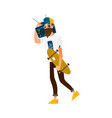 hipster man walking with skateboard and boombox vector image vector image