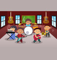 kids playing music vector image vector image