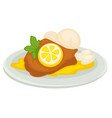 lemon dish duck or chicken in sour sauce with vector image