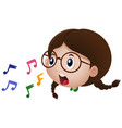 little girl singing with music notes vector image