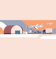 logistic transport near warehouse product goods vector image