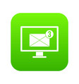monitor screen with email sign icon digital green vector image vector image