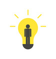 person idea and light bulb vector image vector image